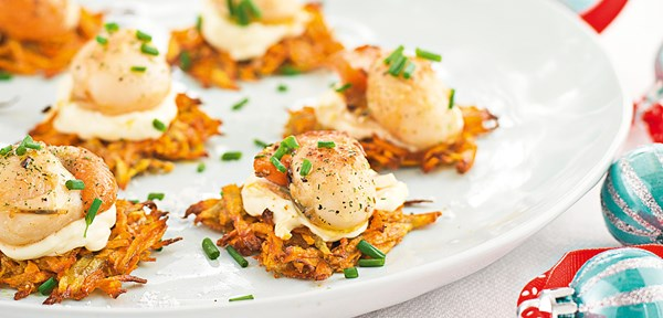 Kumara rosti cakes with scallops and lemon cream