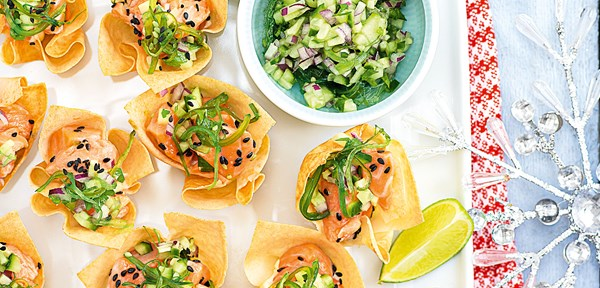 Marinated salmon wonton cups