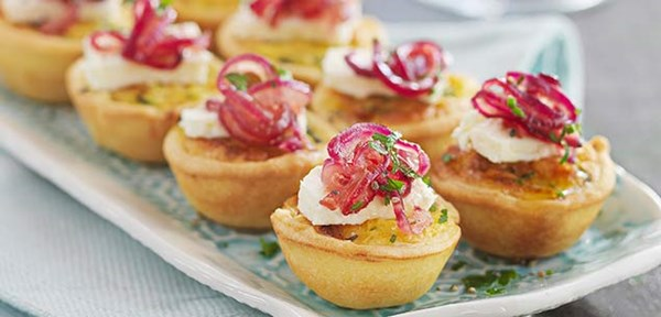 Zucchini, feta and red onion tartlets