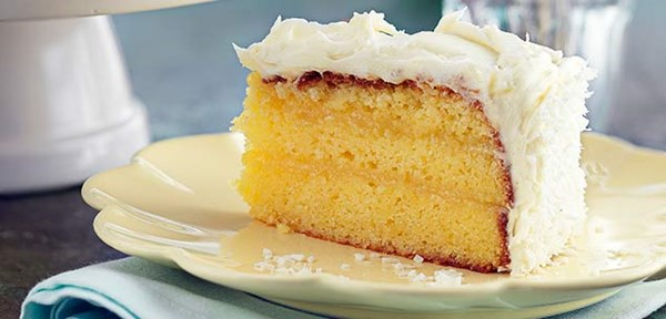Lemon curd cake with coconut frosting