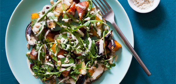 Roast pumpkin and aubergine salad with tahini yoghurt dressing