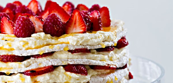 Layered fresh strawberry meringue cake