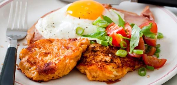 Cheesy Baked Bean Fritters with Ham & Eggs