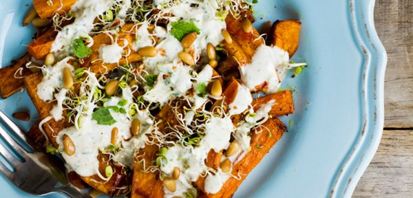 Roasted carrot & pumpkin with tahini-yoghurt dressing