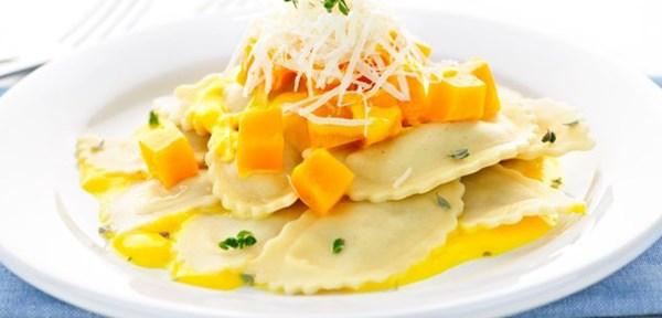 Buttery pumpkin ravioli