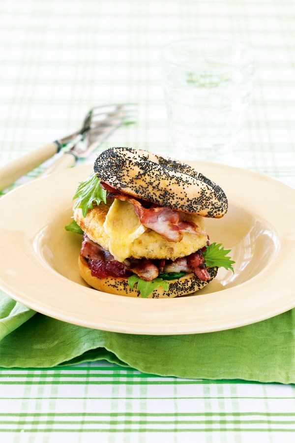 Chicken, bacon, cranberry & brie burger