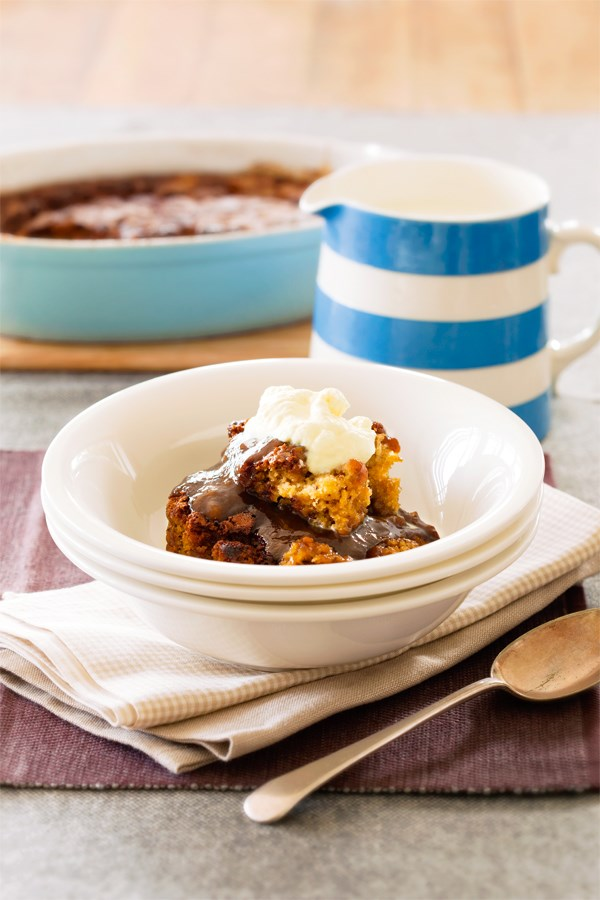 Caramel banana self-saucing pudding