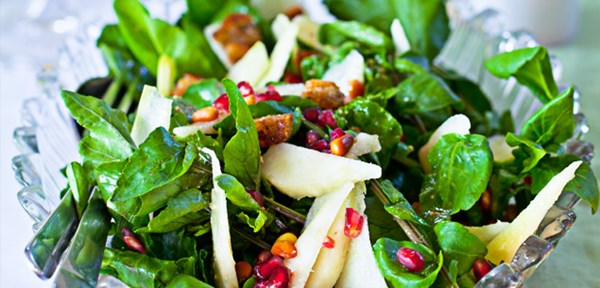 Pear, watercress and pomegranate salad
