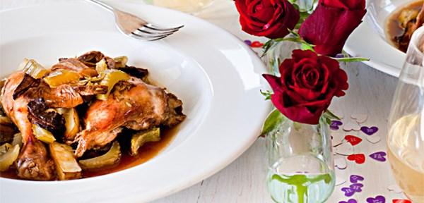 Chicken, celery, porcini and potato
