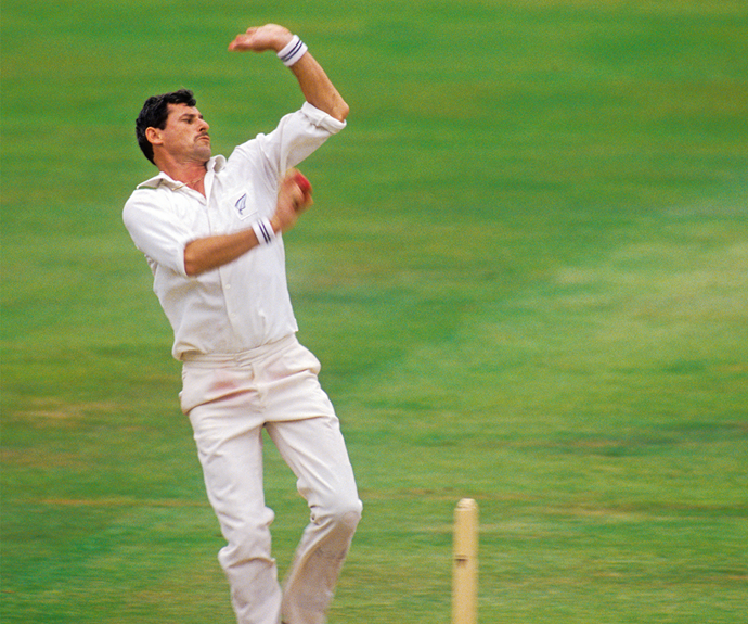 Richard delivers a typically fast ball to the 1990 England team.