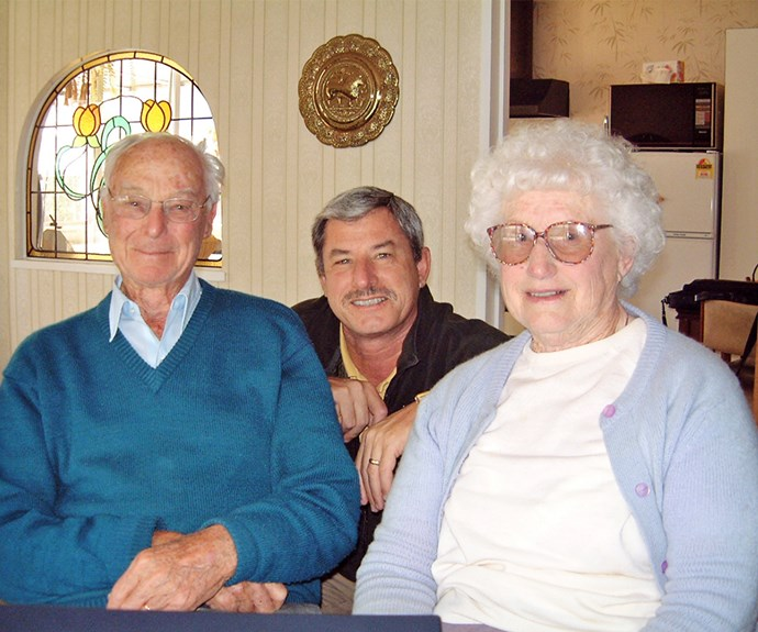 Richard (centre) says his parents Lilla, who became blind in one eye later in life, and Walter were central to his success.