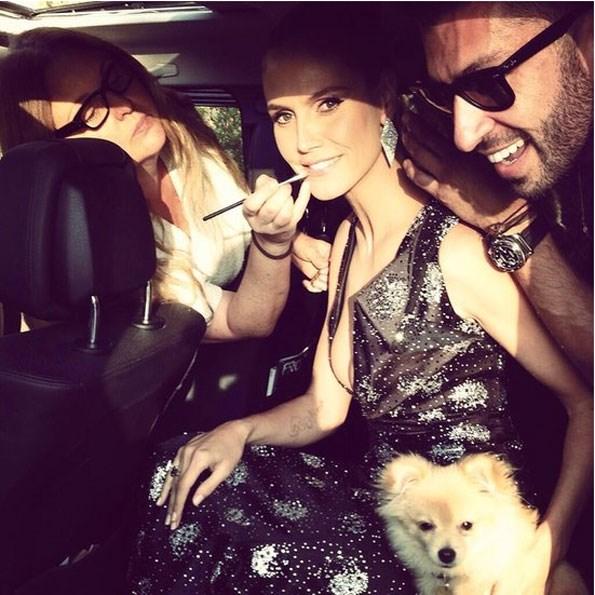 Heidi Klum getting glammed up before the show. PHOTO: Instagram