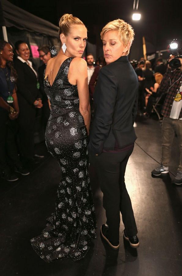 Ellen DeGeneres and Heidi Klum strike a pose. PHOTO: Getty