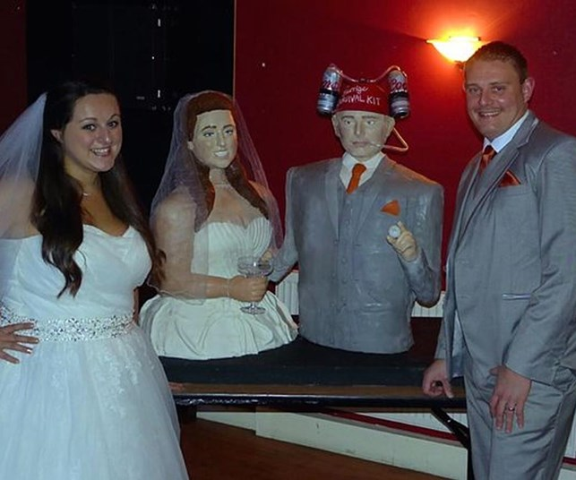 This wedding takes the cake! Woman recreates lifesized cakes of bride and groom