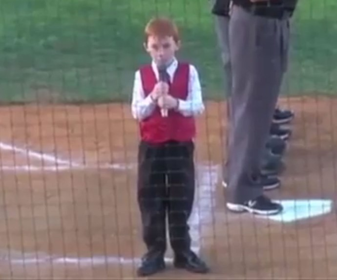 Little boy fights hiccups to sing Australian anthem
