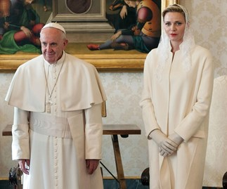 Princess Charlene of Monaco wore white to meet the pope