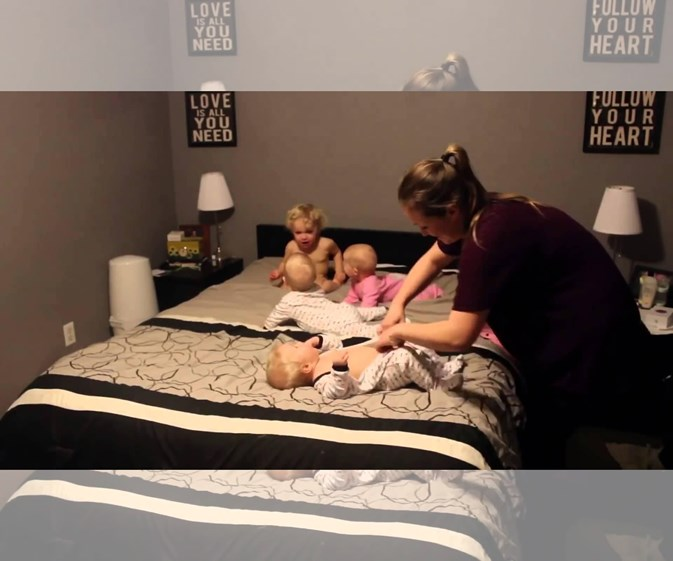 Super mum vs. triplets and toddler video goes viral