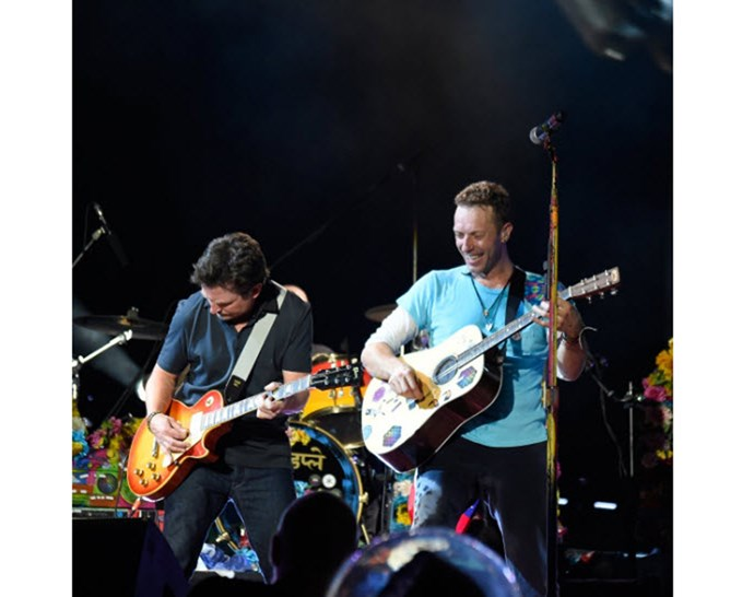 Michael J Fox joins Coldplay on stage for Back to the Future tribute