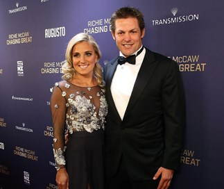 Pictured: Richie McCaw and Gemma Flynn attend Chasing Great premiere