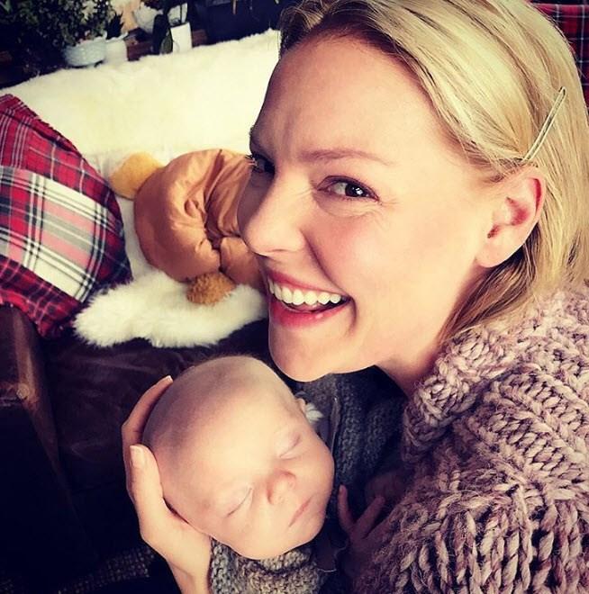 New mum Katherine Heigl revelled in her newborn bub.