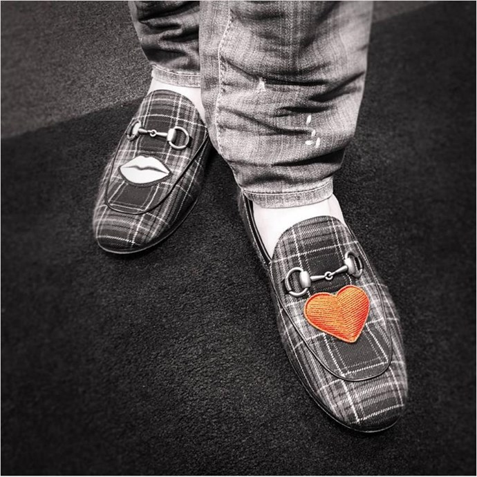 Mike Hosking had some questionable footwear to get in the Valentine's Day mood.