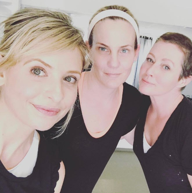 Sarah Michelle Gellar Worked out with her buddy Shanon Doherty, who is battling breast cancer.
