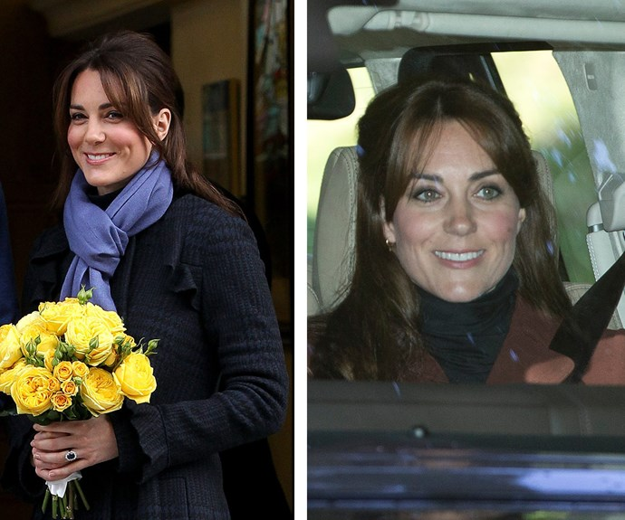 The last time we saw Catherine sporting bangs was in December 2012 (L) after she'd just announced she was expecting her first child. And on Sunday (R) Catherine was sporting a very similar look - including the suspiciously puffy cheeks, sending the pregnancy rumours into overdrive.