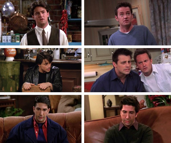 Let's hear it for the lads! Chandler, Joey, Ross, in their first (L) and last episode (R).