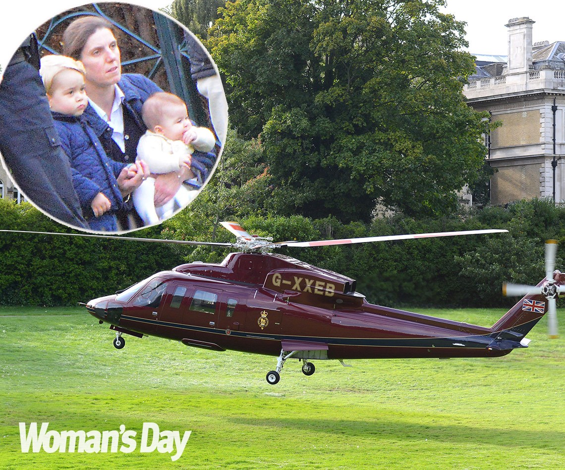 WORLD EXCLUSIVE PICTURES: Princess Charlotte's special day out with Prince George:The five-month-old and George, 2, watched the royal helicopter land on Kensington Palace grounds.