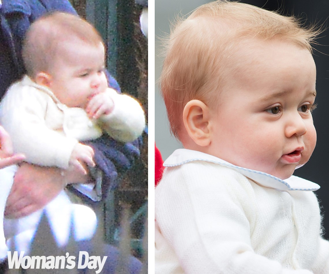 WORLD EXCLUSIVE PICTURES: Princess Charlotte's special day out with Prince George:Just like her big brother (R) Charlotte, pictured on the left, has chubby cheeks, a bow-shaped mouth, and wispy blonde hair.