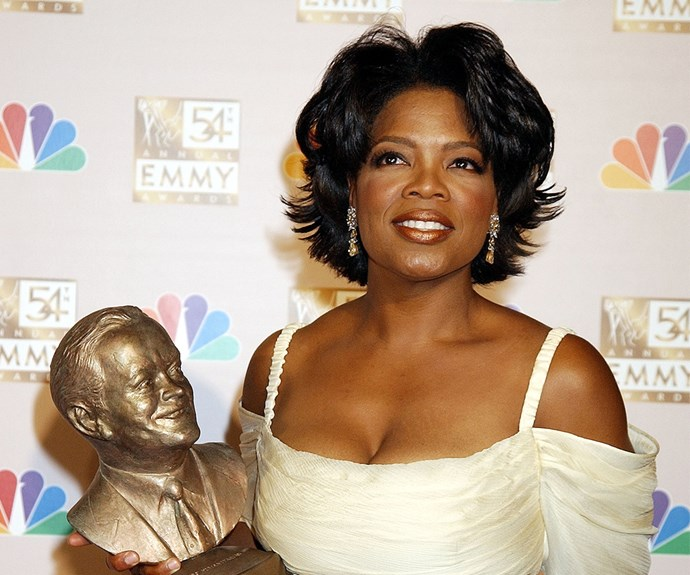 Oprah worked these voluminous flicks to accept an Emmy Award in 2002.