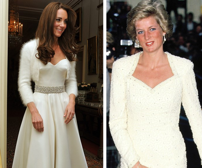 The Duchess channelled Princess Diana in this ivory, silk gown, complete with a pearl-and-diamond belt and fur jacket. This is one ethereal look we'd be happy to get another glimpse of.