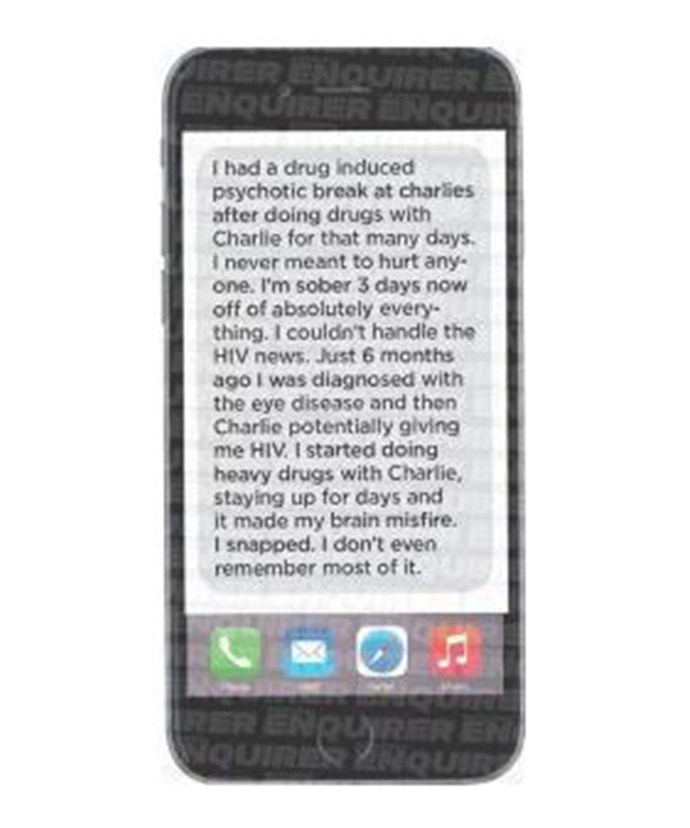 The text Brooke allegedly sent to Charlie's assistant, according to *The National Enquirer*.