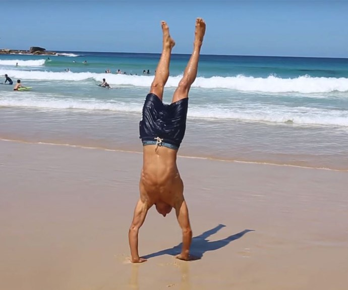Deano does his best hand-stand.