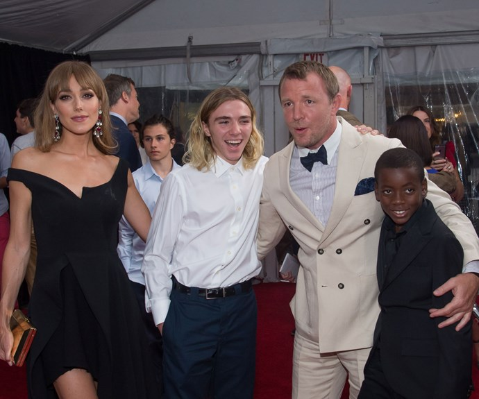 Rocco with stepmother Jacqui, father Guy and brother David at *The Man From U.N.C.L.E.* premiere in August.