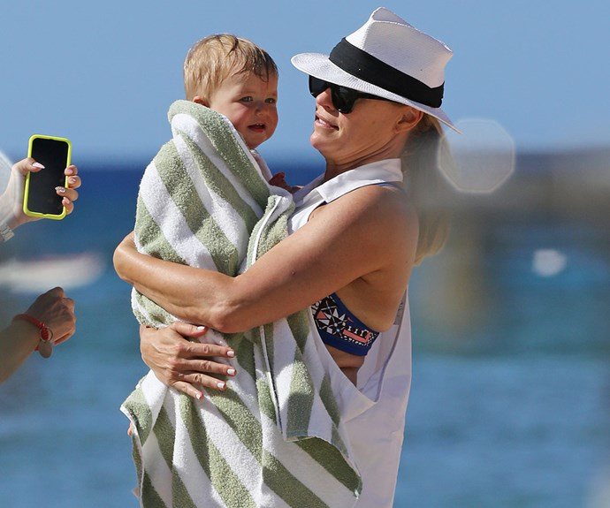 Sonia Kruger and her 11-month-old daughter Maggie enjoyed a day out at the beach during a family holiday in Hawaii over the Christmas break.