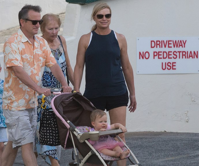 The 50-year-old was joined by her mother Margaret and partner Craig McPherson.