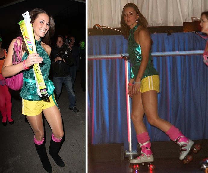 **Duchess of disco:** Or a roller disco for that matter! In 2008, Kate rocked short-shorts and roller skates like no other.