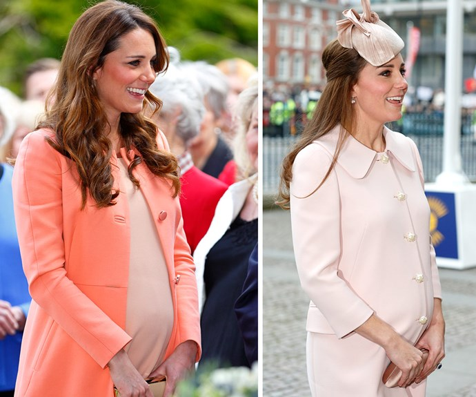 **Blooming beautiful:** No one does maternity style quite like Kate, pictured on the left in 2013 and on the right in 2015, and she's truly shone during both her pregnancies.