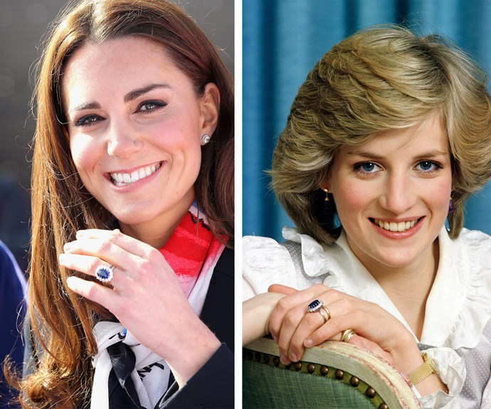 "**Honouring Diana:** Although she never met her late mother-in-law, she's never far away thanks to Catherine's [engagement ring made up of a striking blue sapphire and diamonds, which previously belonged to Diana.](http://www.womansday.com.au/royals/royal-style/the-british-royal-familys-jewellery-collection-14057) ""I just hope I look after it. It's very, very special,"" Kate has said."