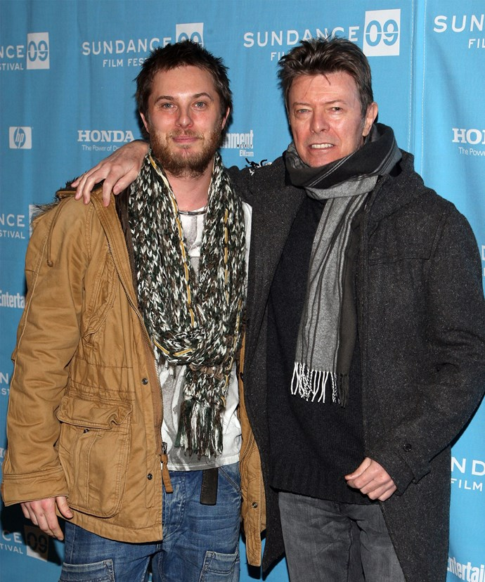 David with his son, movie director Duncan Jones, at the Sundance Film Festival in 2009.