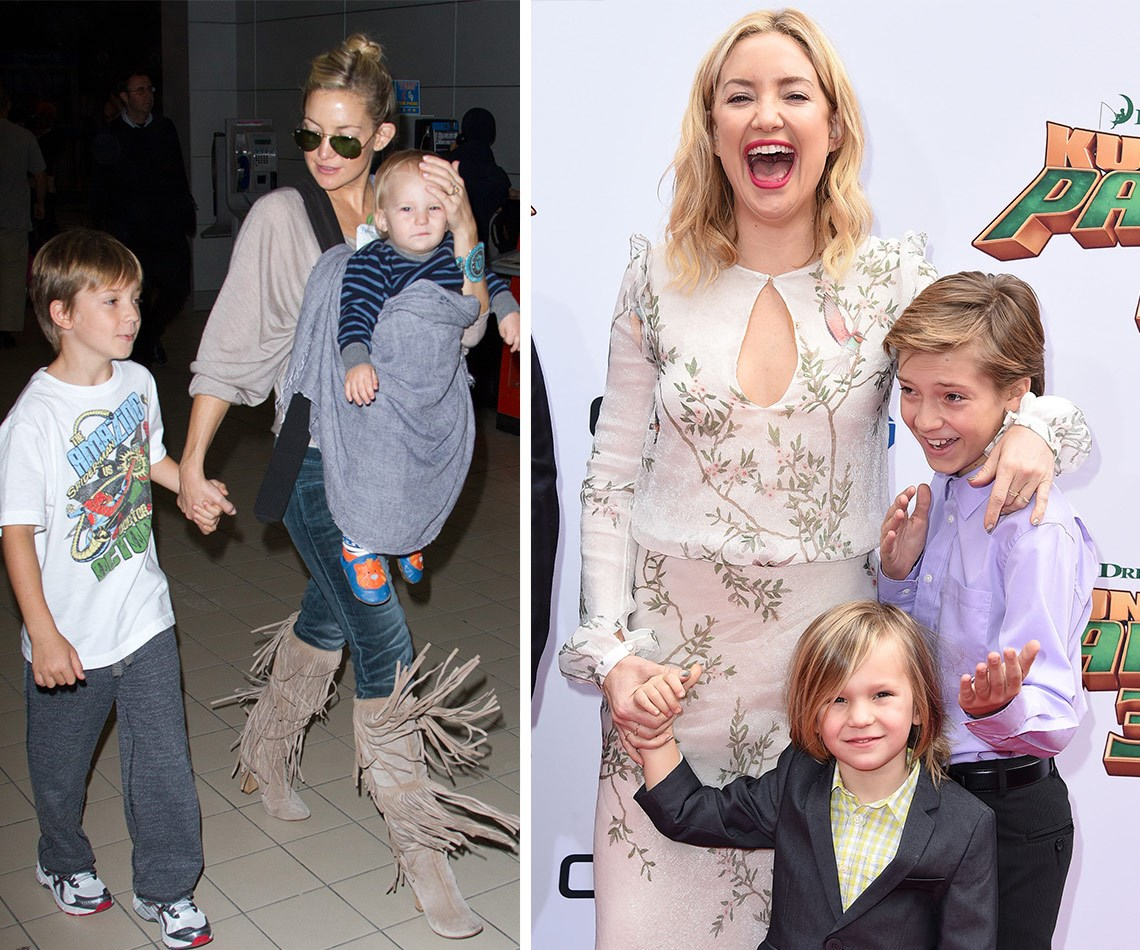 They've grown so much! Kate Hudson and her sons back in 2012 (L), and on Saturday night (R) 12-year-old Ryder and four-year-old Bingham looked like pros as they walked their first ever red carpet.