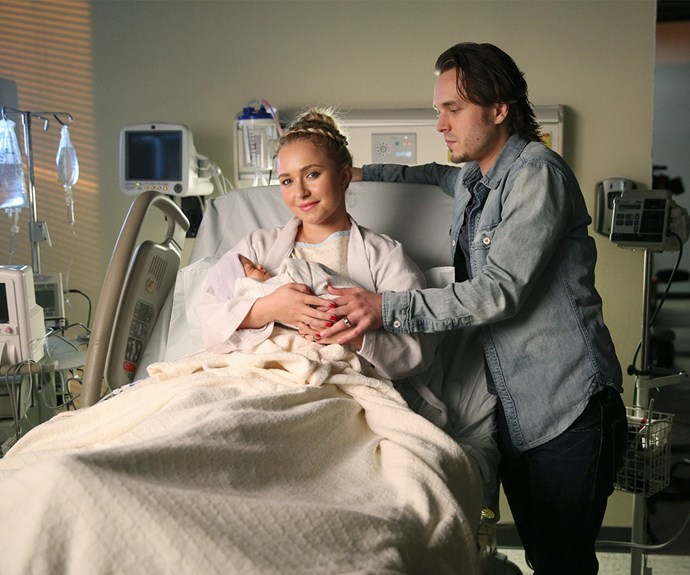 Hayden as her *Nashville* character Juliette Barnes with her on screen family.