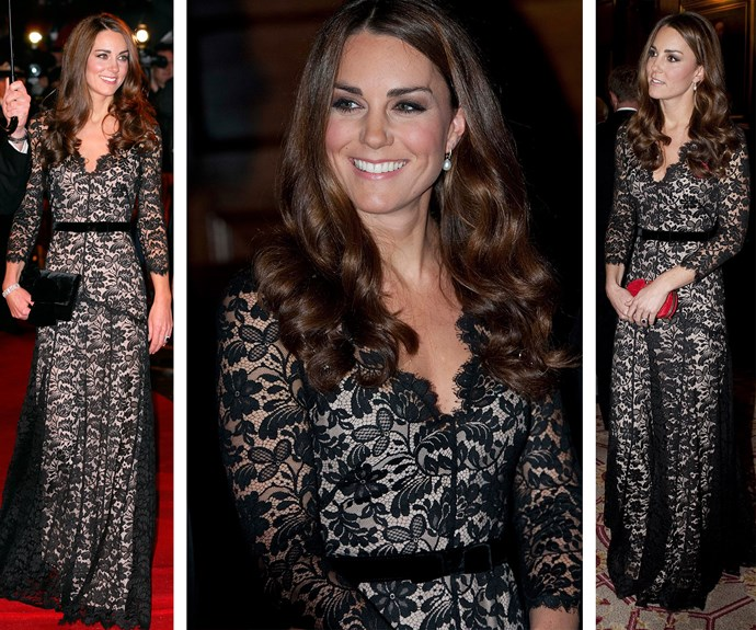This stunning lace Alice Temperley floor-length gown was worn by Kate on two occasions in 2012, showing how [versatile the classic gown](http://www.nowtolove.com.au/royals/british-royal-family/duchess-catherine-frugal-fashion-20265) is, and just how much Kate loves to recycle fashion.