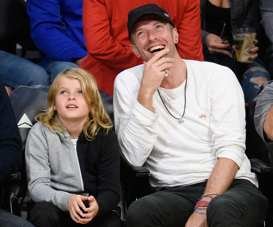 The nine-year-old was joined by his dad and Coldplay rocker, Chris Martin.