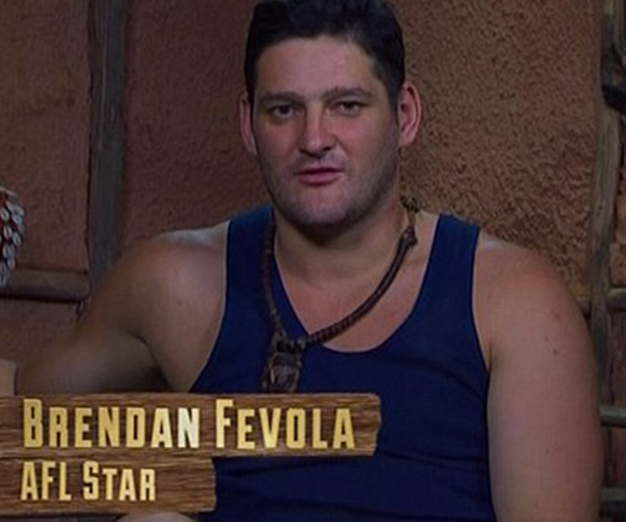 Later in the episode, AFL's Brendan Fevola came to blows with mate Shane Warne over camp rules.