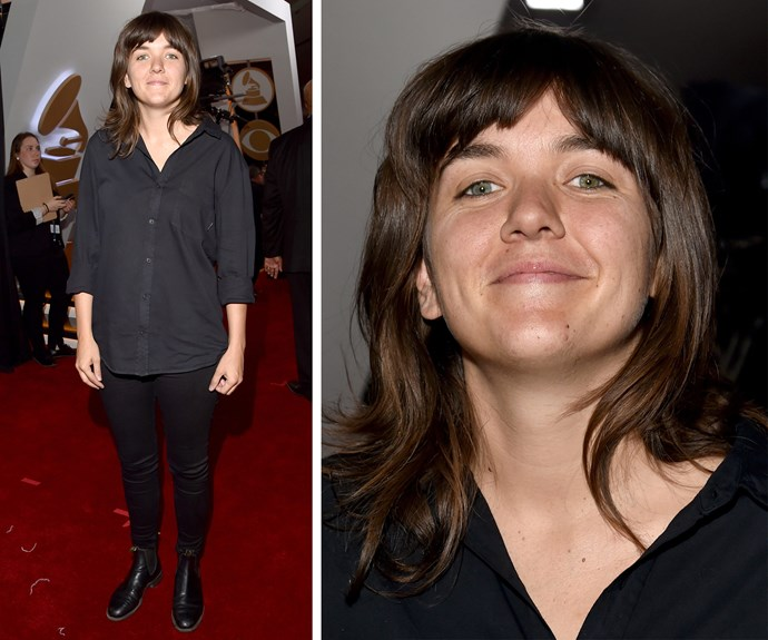 """Best New Artist nominee Courtney Barnett kept things demure in a black shirt and matching trousers. """"I have no expectations. I'm nervous about it. You can't really do much,"""" she explained during her interview with *E!*."""