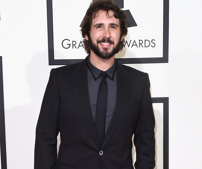 Josh Groban flew solo on the red carpet but the night before he attended a pre-Grammys bash with his girlfriend Kat Dennings.