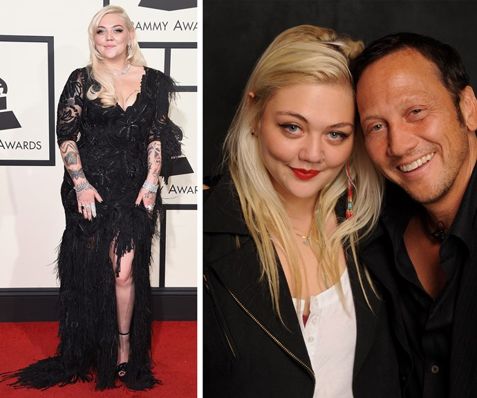 Singer Elle King, who is the daughter of comedian Rob Schneider has been nominated for her hit, *Ex's & Oh's* for Best Rock Performance and Best Rock Song.
