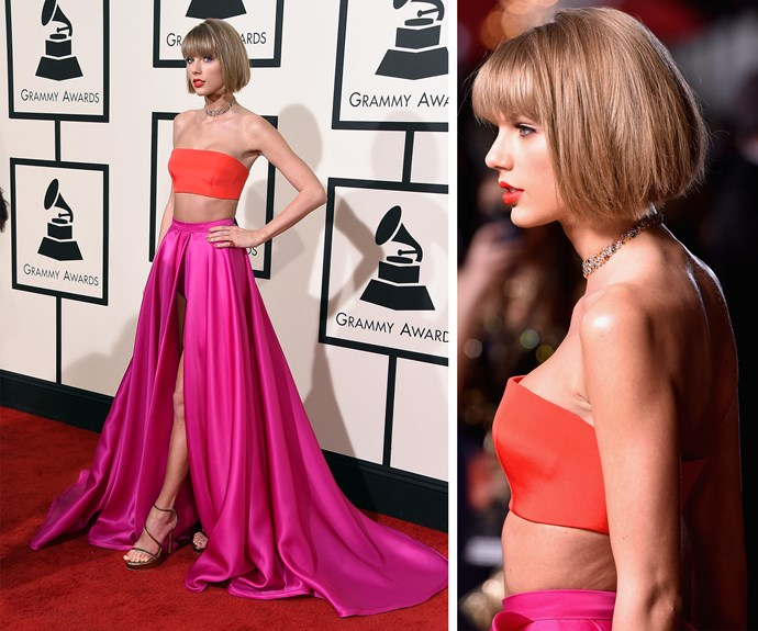 The breathtaking Taylor Swift showed off brand new 'do! We're coveting the cropped bob along with her bright pink maxi-skirt and hot orange bandeau.